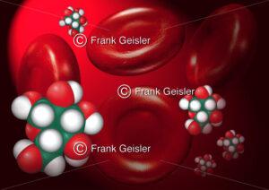 Biochemie Blutzucker, Glucose-Molekül Glukose im Blut - Medical Pictures