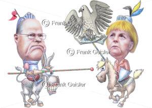 Bundestagswahl 2013 in Deutschland, Karikatur Wahlkampf Peer Steinbrück gegen Eiserne Lady Angela Merkel - Medical Pictures