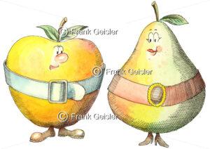 Cartoon Adipositas, Apfelform und Birnenform der Fettsucht - Medical Pictures
