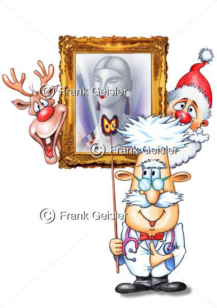 Cartoon Christmas, Frohe Weihnachten und Gesundheit - Medical Pictures