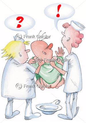 Cartoon Krankenpflege, Teamarbeit im Krankenhaus - Medical Pictures