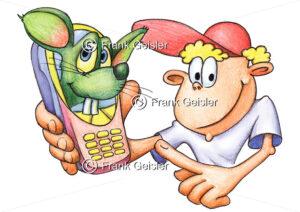 Cartoon Suchterkrankung durch iPhone und Handy - Medical Pictures