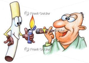 Cartoon Verführung durch Zigarette, Rauchen als Genuss - Medical Pictures