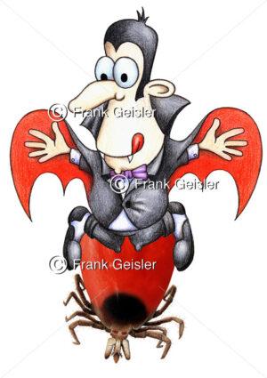 Cartoon Zecke, Blut saugender Vampir - Medical Pictures