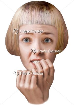 Gesichtsausdruck Angst, Angststörung eine physiologische Emotion - Medical Pictures