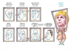 Karikatur Deutsche Bundeskanzler mit Bundeskanzlerin Angela Merkel – es lebe die Frauenquote - Medical Pictures