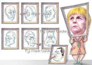 Karikatur Deutsche Bundeskanzler mit Frauenquote, Quotenfrau Bundeskanzlerin Angela Merkel - Medical Pictures