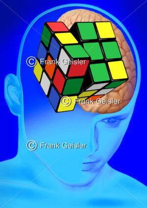 Medical Art Denken, Gedanken als Denkoperationen in Psychologie und Physiologie - Medical Pictures