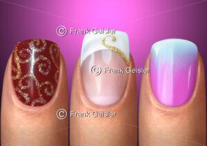 Nagel Unguis, Kosmetik und Nagelpflege der Fingernägel mit Nageldesign Nail Art - Medical Pictures