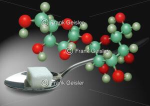 Süßer Dickmacher Zucker mit Saccharose-Molekül - Medical Pictures