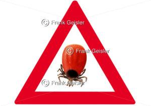 Zecke, Warnzeichen Vorsicht Zecken - Medical Pictures